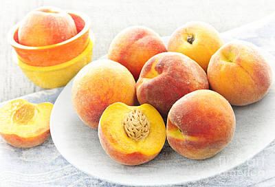 Peaches Photograph - Peaches On Plate by Elena Elisseeva