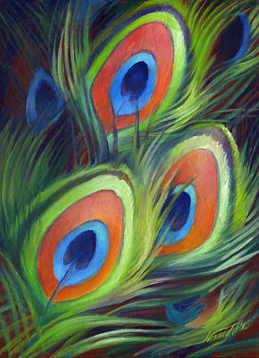 Iridescent Painting - Peacock Feathers by Nancy Tilles