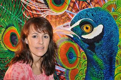 Lisa Rodriguez Painting - Peacock Pride In Final Stages... Close-up by Lisa Rodriguez