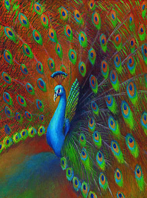 Iridescent Painting - Peacock Spread by Nancy Tilles