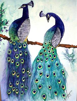 Painting - Peacocks I by Paula Steffensen