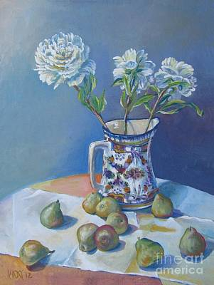 The Downtown Gallery Painting - pears and Talavera table pitcher by Vanessa Hadady BFA MA