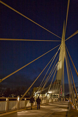 Pedestrians Cross The Modern Bridge Print by Taylor S. Kennedy