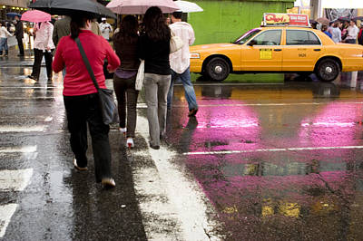 Natural Forces Photograph - Pedestrians In A Times Square Crosswalk by Ira Block