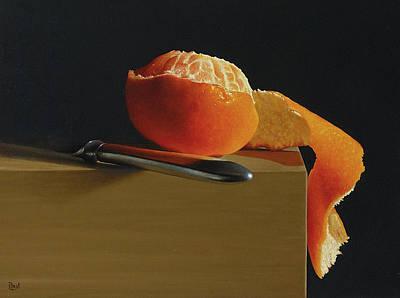 Tangerine Painting - Peeled Tangerine by Paul Coventry-Brown