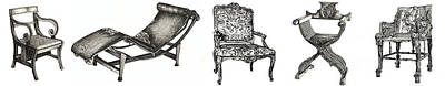 Wall Hanging Drawing - Pen And Ink Poster Of Chairs by Adendorff Design