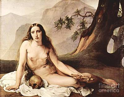 Hayez Painting - Penitent Mary Magdalene by Pg Reproductions