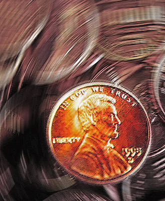 Flip Mixed Media - Pennies Abstract 2 by Steve Ohlsen