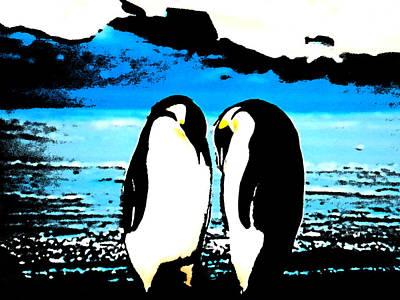 Penquins Painting - Penquin Chat by Colette V Hera  Guggenheim