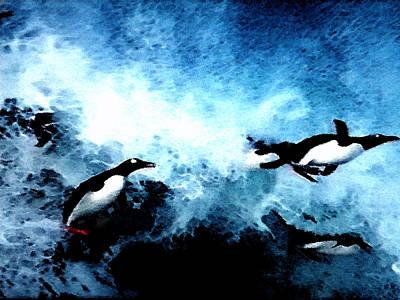 Penquins Painting - Penquin Joy Play  In Huge Waves by Colette V Hera  Guggenheim