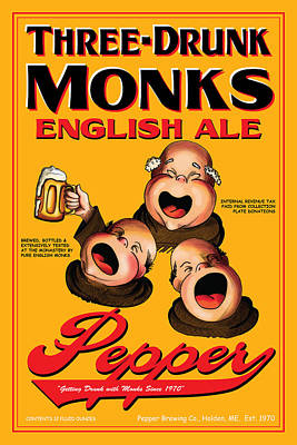 English Ale Drawing - Pepper Three Drunk Monks by John OBrien