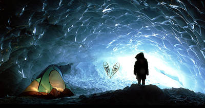 Contradiction Photograph - Person In Ice Cave, Appa Glacier by David Nunuk