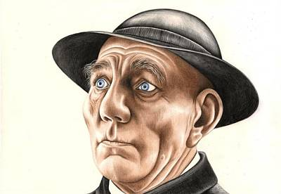 Voice Actor Drawing - Pete Postlethwaite by Margaret Sanderson