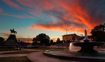 Entrance Memorial Photograph - Philadelphia Museum Of Art At Sunset - Pennsylvania - Philadelphia - Washington Memorial Fountain    by Lee Dos Santos