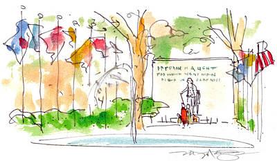 Park Scene Drawing - Philadelphia Park by Marilyn MacGregor