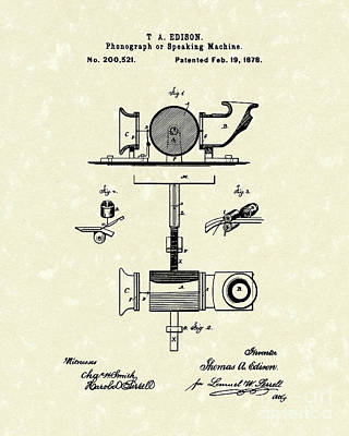 Player Drawing - Phonograph 1878 Patent Art  by Prior Art Design