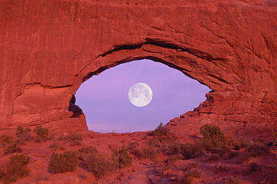 Photographer At Window At Arches National Park Print by Grant Faint