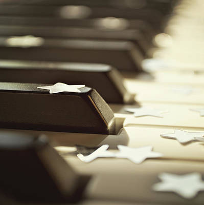 In A Row Photograph - Piano Keys And Stars by Photo - Lyn Randle