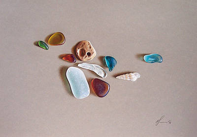 Pieces From The Ocean Print by Elena Kolotusha