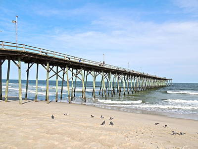 Pier At Kure Beach Print by Eve Spring