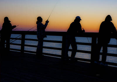 Pier Fishing At Dawn II Print by Betsy Knapp