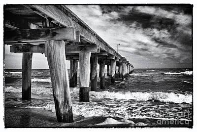 Pier To The Horizon - Black And White Print by Hideaki Sakurai