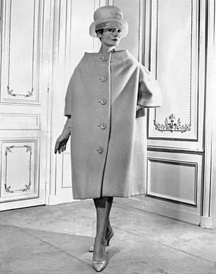 Three Quarter Sleeves Print featuring the photograph Pierre Cardin Womens Voluminous Coat by Everett