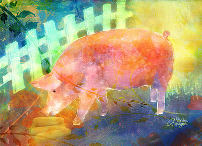 Pig Mixed Media - Pig In A Pen by Arline Wagner