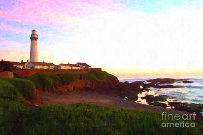 Impresionism Photograph - Pigeon Point Light House by Wingsdomain Art and Photography