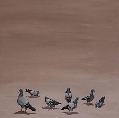 Street Painting - Pigeons by Jennifer Lynch