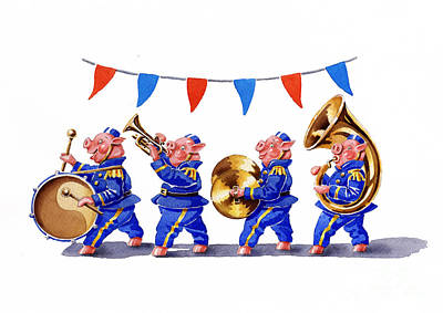 Bunting Drawing - Piggy Band by Debbie  Diamond