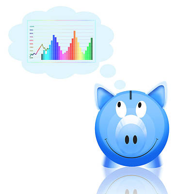 Piggy Bank With Graph Print by Setsiri Silapasuwanchai