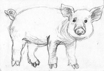 Piglets Drawing - Piglet by Ming Yeung