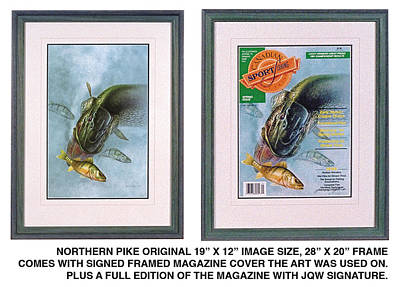 Magazine Cover Painting - Pike Fishing Original And Magazine by JQ Licensing