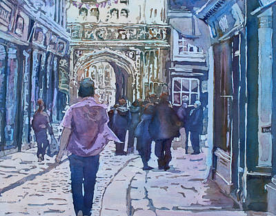 Cobbles Painting - Pilgrims At The Gate by Jenny Armitage