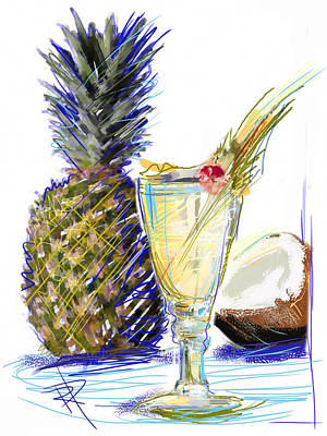 Pineapple Mixed Media - Pina Colada by Russell Pierce