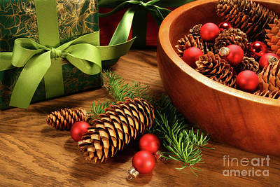 Pine Cones And Christmas Balls  Print by Sandra Cunningham