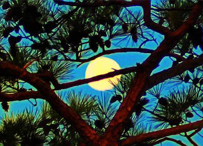 Md Digital Art - Pine Tree Moon by Bill Cannon