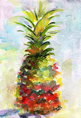 Ananas Painting - Pineapple Study Watercolor by Ginette Callaway