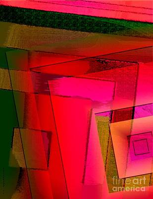Square Digital Art - Pink And Green Geometric Art by Mario Perez