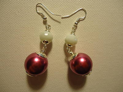 Wire Photograph - Pink And White Ball Drop Earrings by Jenna Green
