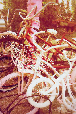 Found-objects Photograph - Vintage Girls Bikes by Toni Hopper