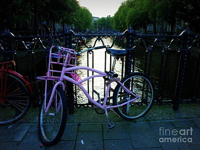 Pink Bike In Amsterdam Print by Lainie Wrightson