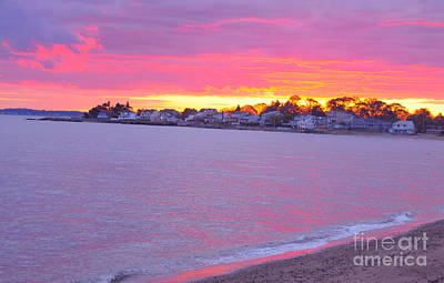 East Coast Painting - Pink Connecticut Sunset A by Cindy Lee Longhini