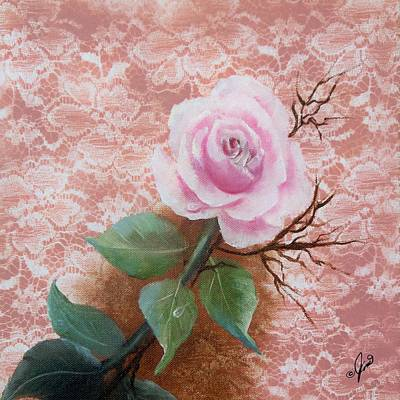 Flowers Painting - Pink Rose On Lace by Joni McPherson