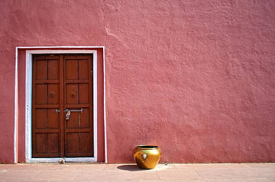 Pink Wall And The Door Print by Saptak Ganguly