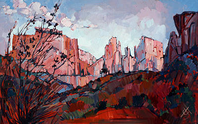 National Parks Painting - Pink Zion by Erin Hanson