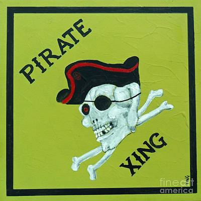 Scull Painting - Pirate Crossing Beware by Doris Blessington
