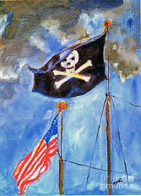 Scull Painting - Pirate Flag Over Savannah by Doris Blessington
