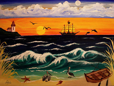 Pirate Ships Painting - Pirate's Cove by Adele Moscaritolo